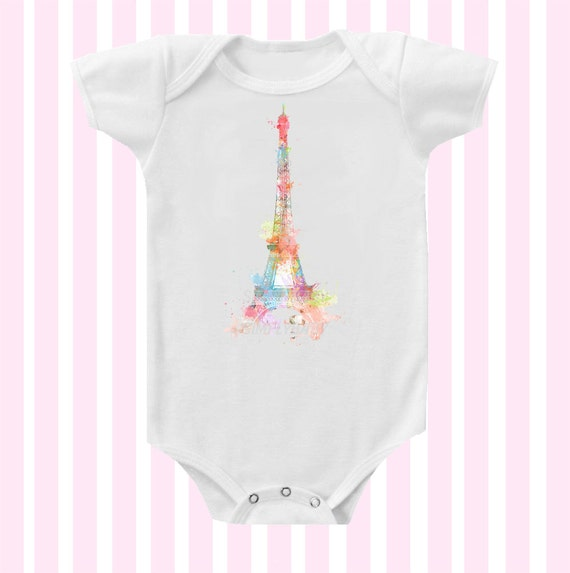 Pastel Eiffel Tower Inspired Baby Girl Bodysuit by SimplyBaby