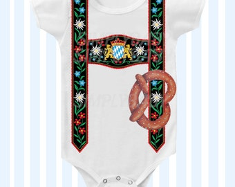 Oktoberfest Inspired Lederhosen Bodysuit Neutral by SimplyBaby