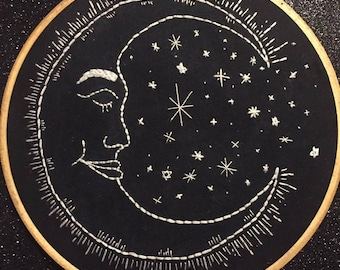 MADE TO ORDER Moon and Stars Embroidery Hoop