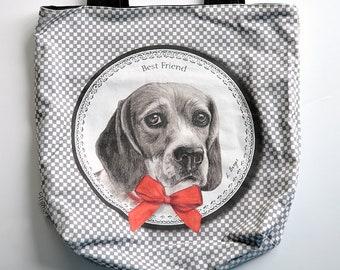 Beagle tote bag, beagle shopping bag, dog multi-purpose bag, dog tote bag, beagle bag, dog tote, puppy tote bag.