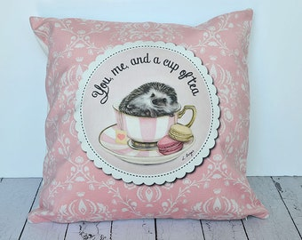 Hedgehog cushion cover - hedgehog cushion- throw pillow, home decor, kids pillow-children cushion- hedgehog gift - animal cushion cover, tea