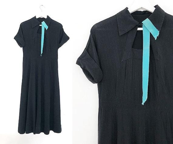 vintage 40s 50s black dress w/ turquoise ribbon de