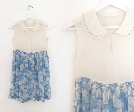 breezy 1920s cotton daisy print dress XS
