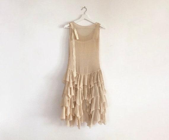 vintage 20s silk chiffon tiered dress XS S - image 2