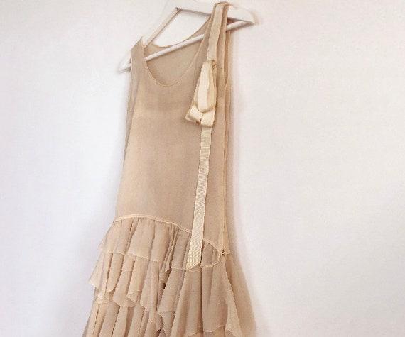 vintage 20s silk chiffon tiered dress XS S - image 4