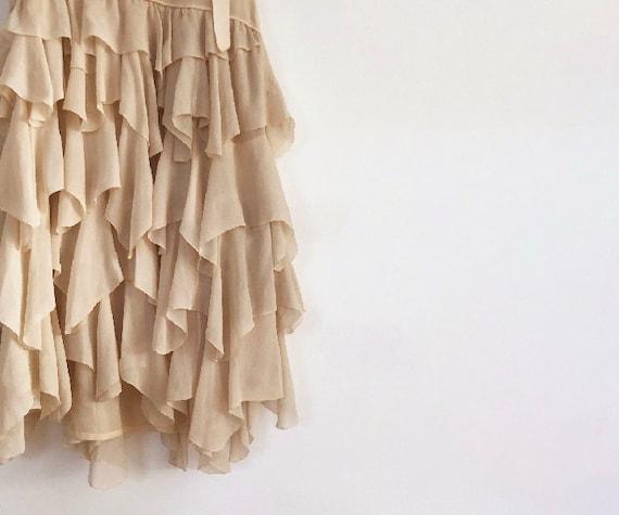 vintage 20s silk chiffon tiered dress XS S - image 7