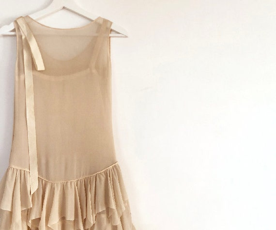 vintage 20s silk chiffon tiered dress XS S - image 8