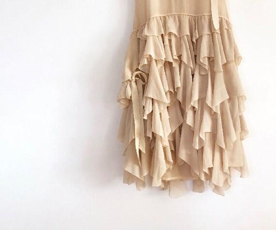 vintage 20s silk chiffon tiered dress XS S - image 6