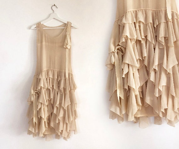 vintage 20s silk chiffon tiered dress XS S - image 1