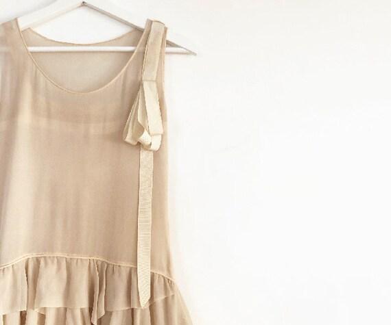 vintage 20s silk chiffon tiered dress XS S - image 3