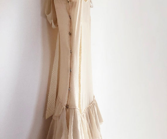vintage 20s silk chiffon tiered dress XS S - image 10