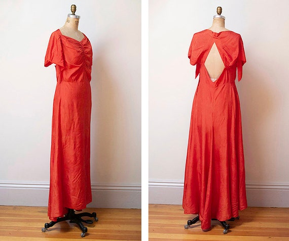 vintage 30s open back gown S M