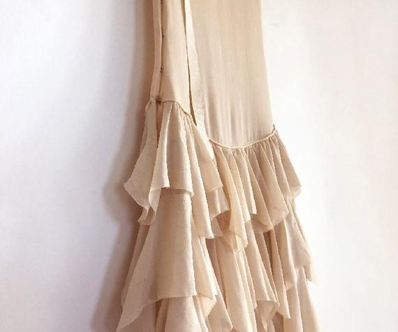 vintage 20s silk chiffon tiered dress XS S - image 9