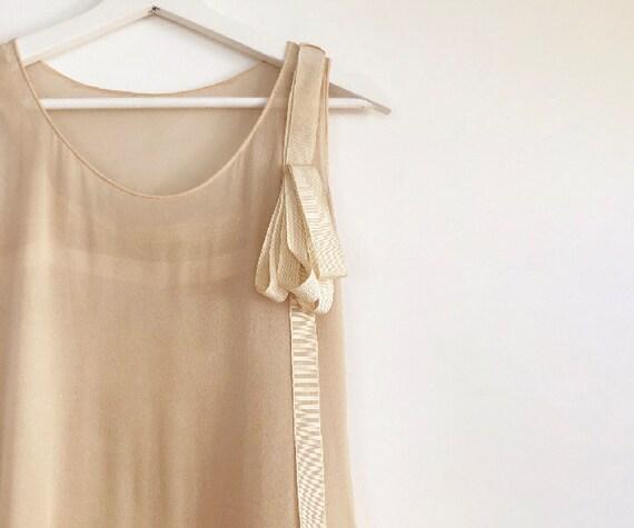 vintage 20s silk chiffon tiered dress XS S - image 5