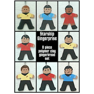 Polymer Clay Gingerbread Shaped Ornaments Starship Gingerprise boxed set of 8 ornaments