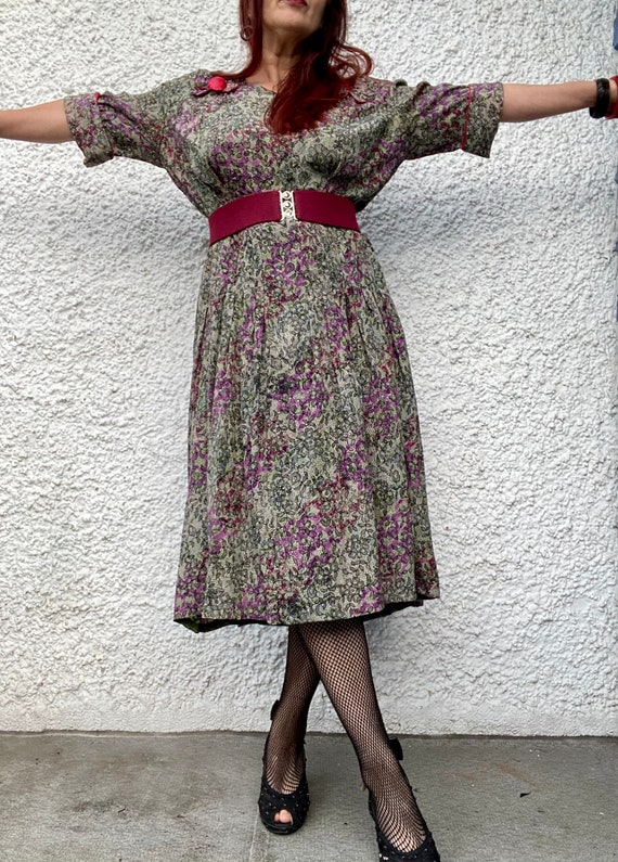1940s floral lace print thin rayon dress - large - image 5