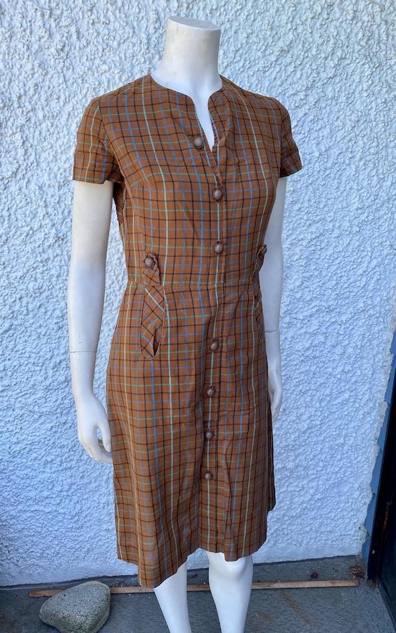 1950's brown plaid dress