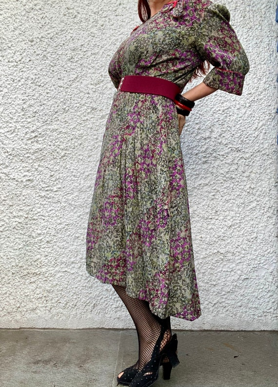 1940s floral lace print thin rayon dress - large - image 3
