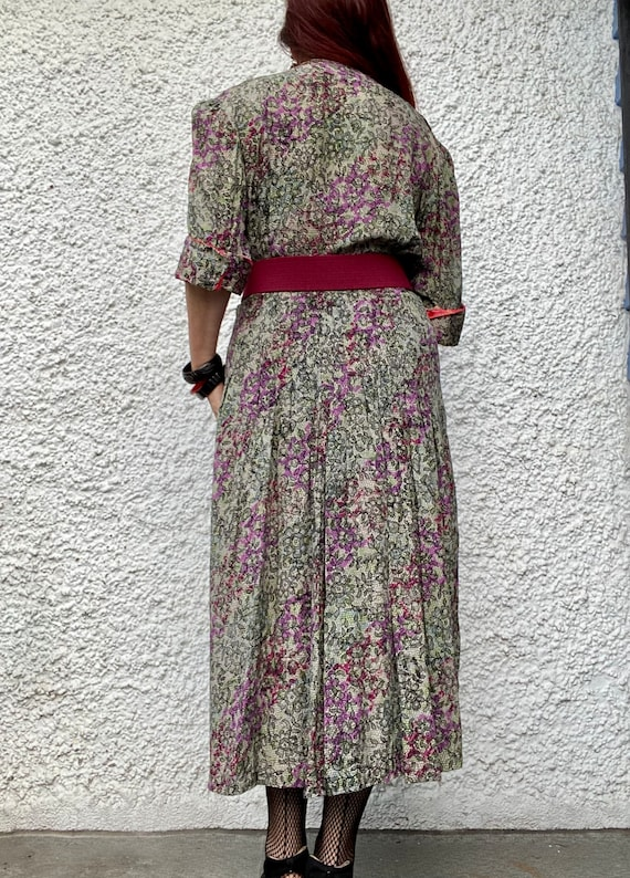 1940s floral lace print thin rayon dress - large - image 4