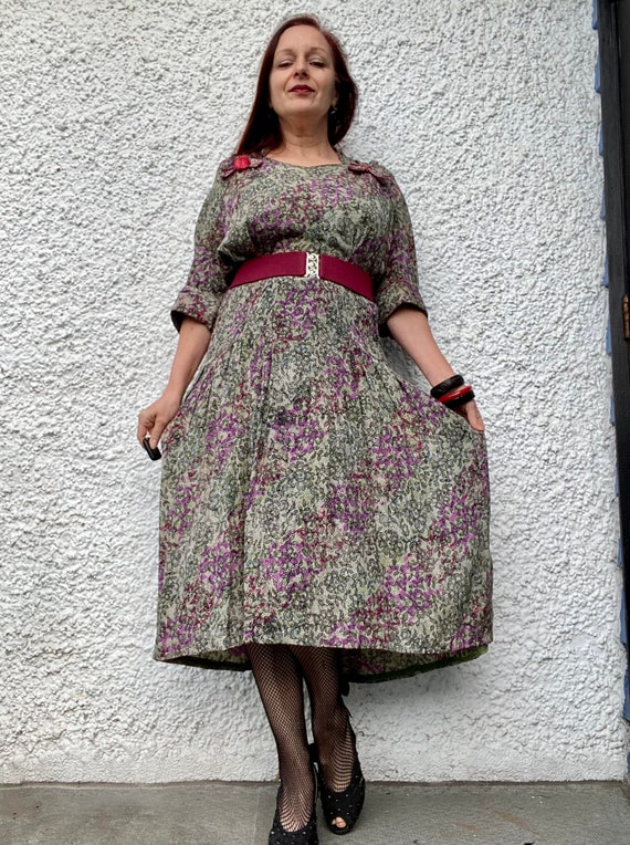 1940s floral lace print thin rayon dress - large - image 1