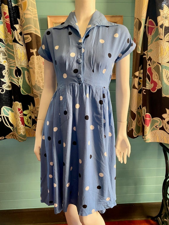 1940's polka dot shirt waister dress