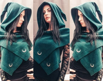 strega fashion/witch hat/hooded scarf/elven hat/cowl/winter goth/witchy/strega/witchy hood/fairy cape/mage/halloween/winter cape/gothic cape