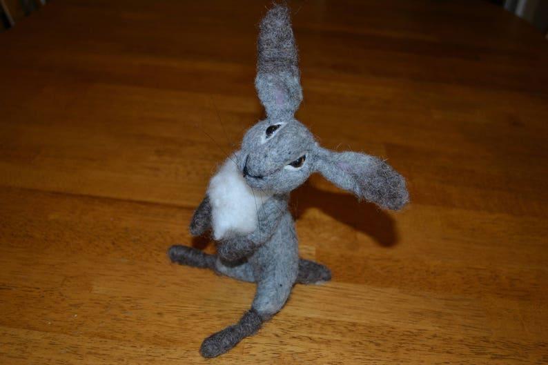 Needle Felted Gray Bunny Gray Felt Rabbit