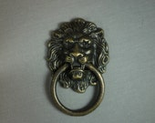 LION FACE BRASS Ring Dresser Drawer for Cabinet Door, Wooden Box, Pull Handle Set Lot in Vintage style