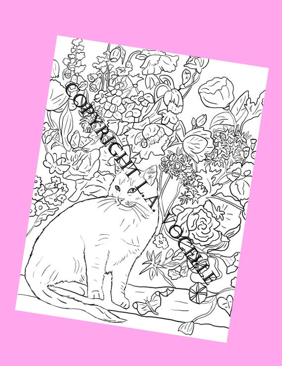 - Cat Coloring Adult Coloring Books Coloring Pages Kitty Etsy
