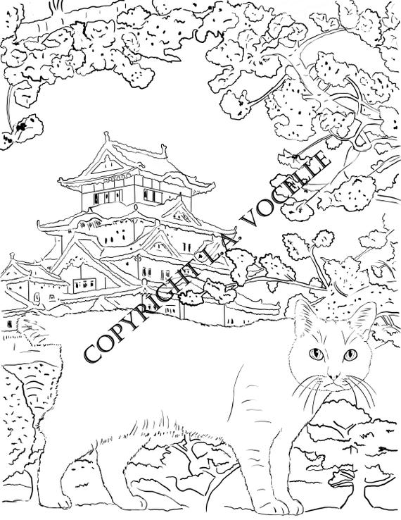 - Cat Coloring Pages Adult Coloring Book Cat Coloring Kitty Etsy