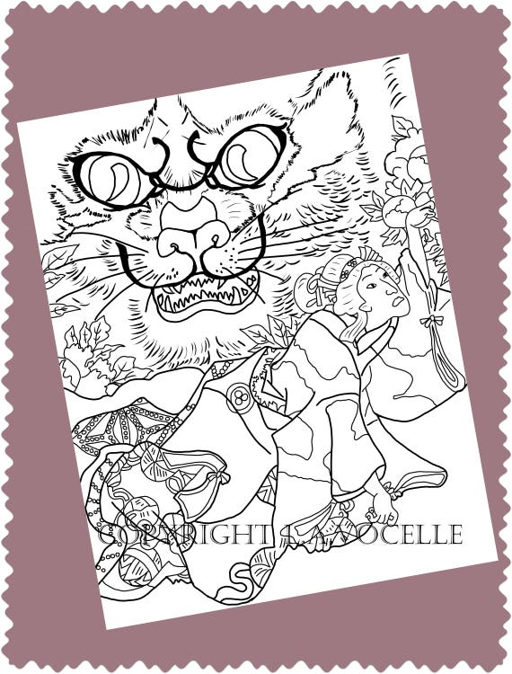 - Cat Coloring Advanced Coloring Books Coloring Pages Kitty Etsy
