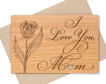 I Love You Mom Wood Card for Mothers Day, for Birthday. Mother Gift from Daughter.