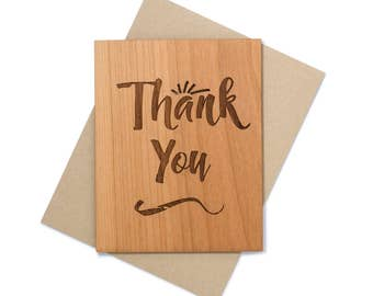 Thank You Gift - Thank You Cards - Unique Gift Idea for Her Mini Wood Card
