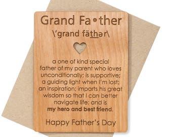 Grandpa Card Mini Wood Card. Grandpa Gift Ideas for Grandfather Fathers Day Card. Unique Father's Day Cards.