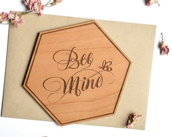 Be Mine Valentines Day Card Wood for Him, for Her. First Valentines Day.