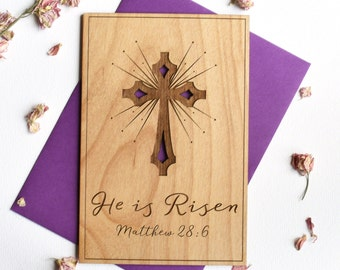 He is Risen Christian Easter Card. Religious Gifts Easter Cards. Easter Greetings Wood Card.