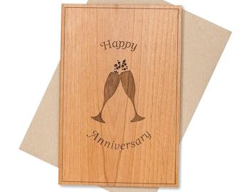 Wedding Toasting Glasses Anniversary Card. 5th Year Anniversary Gift Wood Card.