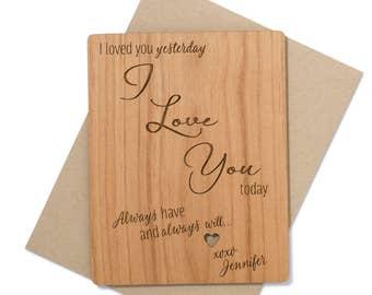 Romantic Anniversary Card Wood. 5th Anniversary Card.  Anniversary Gift for Him.