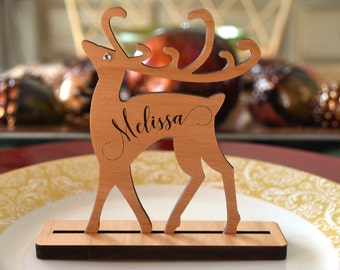 Christmas Place Cards Set with Wood Card Holder. Christmas Place Names. Personalized Reindeer Place Card Settings