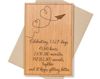 Wooden Anniversary Gift for Husband. 5th Anniversary Gift Card for Him. Unique Cards.