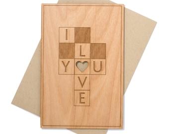 5 Year Wedding Anniversary Card. Love Wood Card.