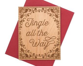 Jingle All the Way Mini Wood Christmas Card. Texas Themed Christmas Cards.