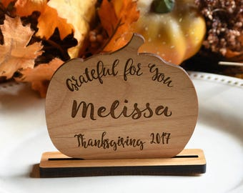 Personalized Thanksgiving Place Cards. Thanksgiving Placecards. Wood Pumpkin Place Card Set. Name Cards Place Setting.