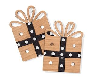 Black and White Polka Dot Christmas Gift Box Ornament. Christmas Present Tree Ornaments.