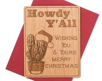 Western Themed Mini Wood Christmas Card. Texas Christmas Cards. Holiday 2017 Greeting Card.
