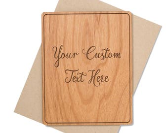 Custom Wood Card for Him, for Her with Personalized Message. Make Your Own Greeting Card