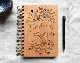 Heirloom Recipe Notebook. Wooden Notebook. Personalized Spiral Notebook Wedding Gift Idea.