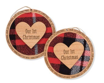 Laser Engraved Ornaments. Our First Christmas Ornament Married. Western Theme Christmas Tree Ornament.
