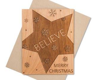 Believe Christmas Mini Wood Card. Unique Xmas Card. Christmas Card Wood.