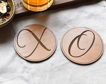 5th Anniversary Gift - XO Round Wood Coaster Set - Laser Engraved Wood Drink Coaster -  Valentines Day Gifts - Coaster Set (Set of 2)